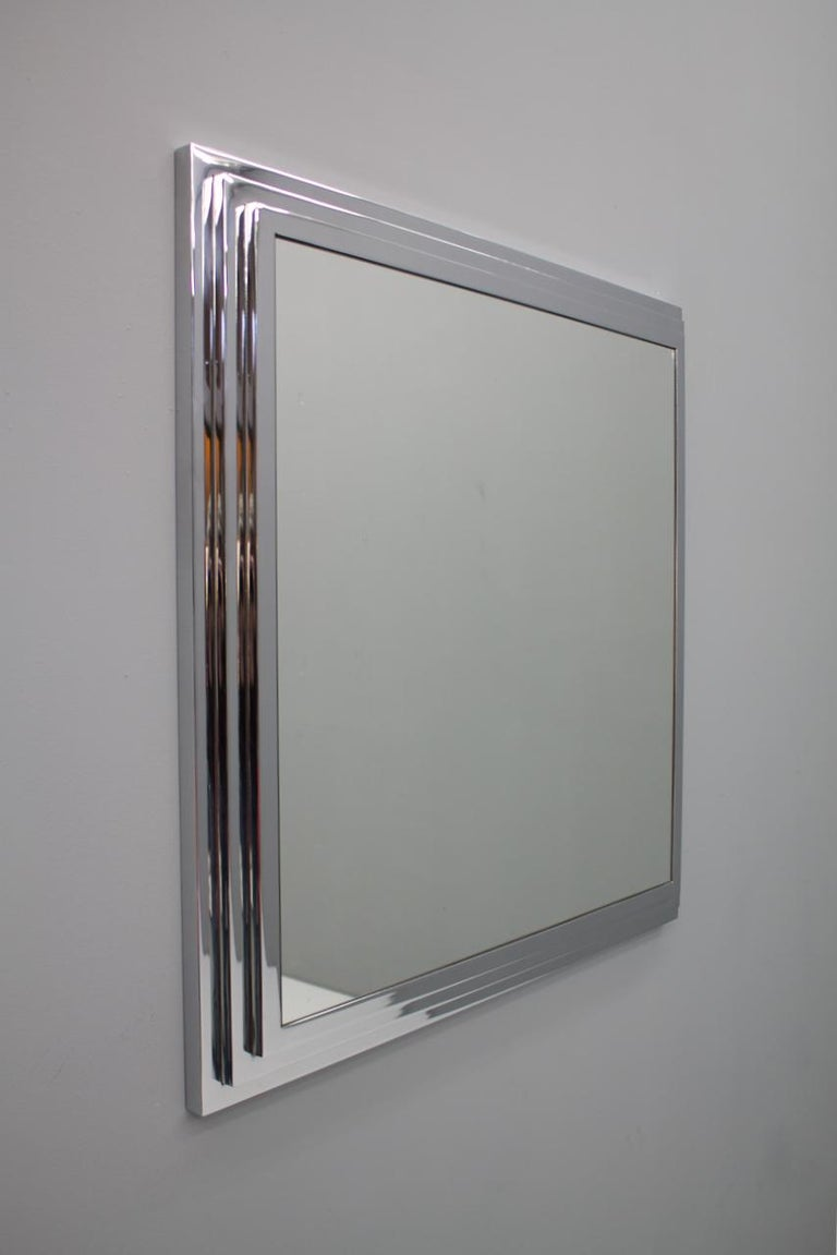 Late 19th Century Heavy Chrome Wall Mirror in Chrome France 1974 For Sale