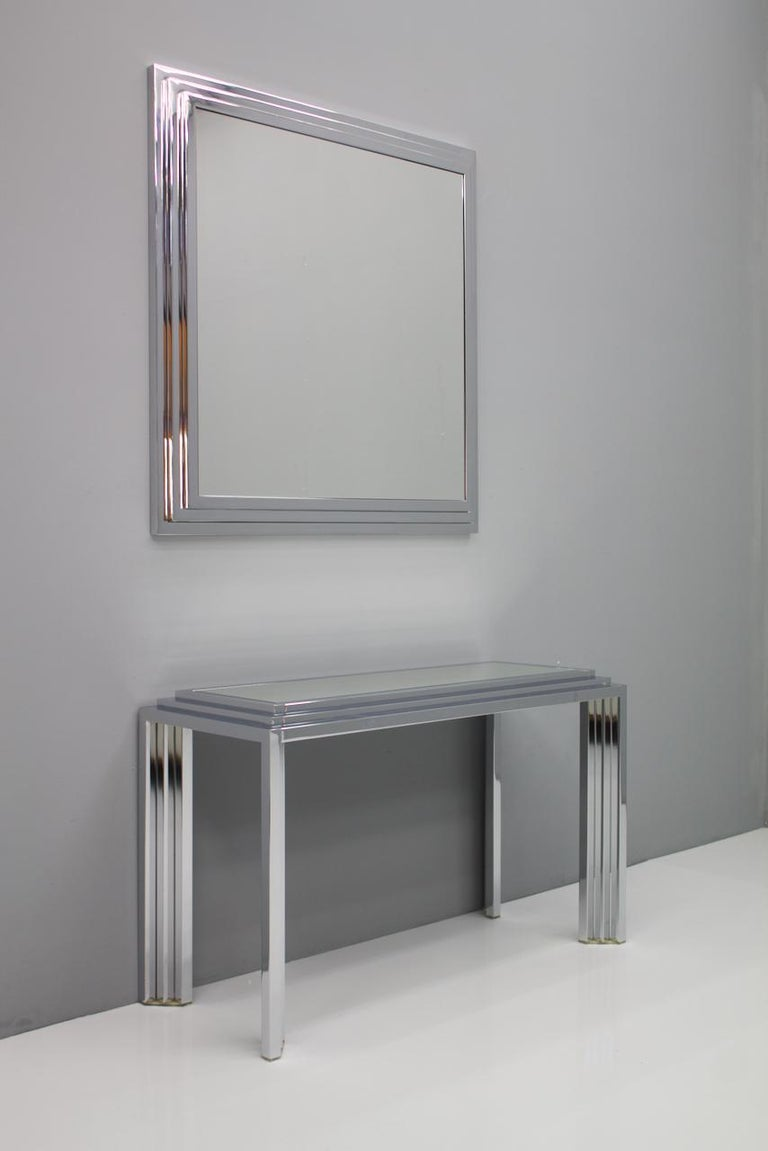 Glass Heavy Chrome Wall Mirror in Chrome France 1974 For Sale