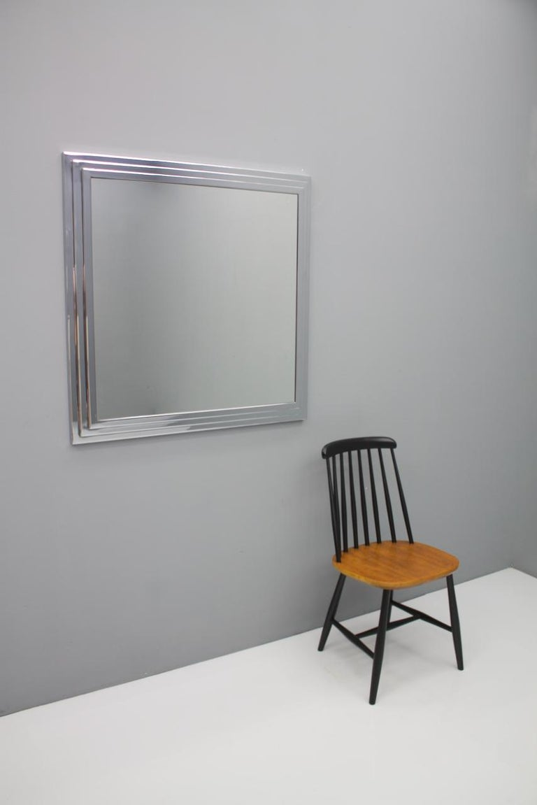 Heavy Chrome Wall Mirror in Chrome France 1974 For Sale 2