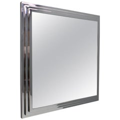 Heavy Chrome Wall Mirror France 1974