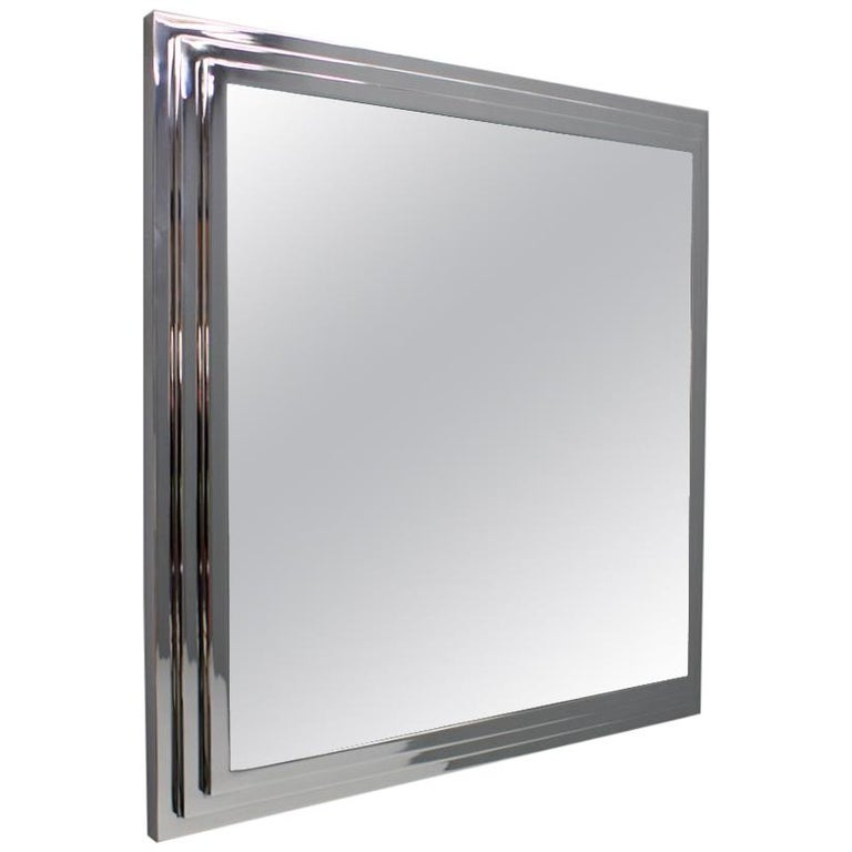 Heavy Chrome Wall Mirror in Chrome France 1974 For Sale