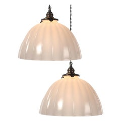 Heavy Concave Fluted Domes, Pair