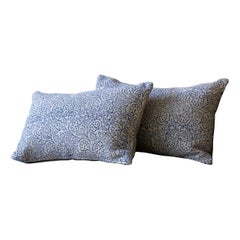 Heavy Cream and Blue Floral Linen Pillow