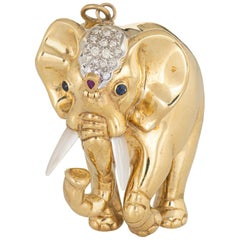 Heavy Elephant Pendant Vintage 18 Karat Gold Diamond Gemstones Large Jewelry
