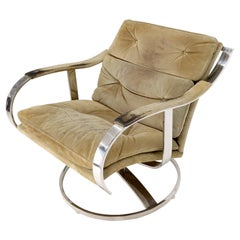 Heavy Gage Polished Stainless Steel Swivel Base Suede Upholstery Lounge Chair