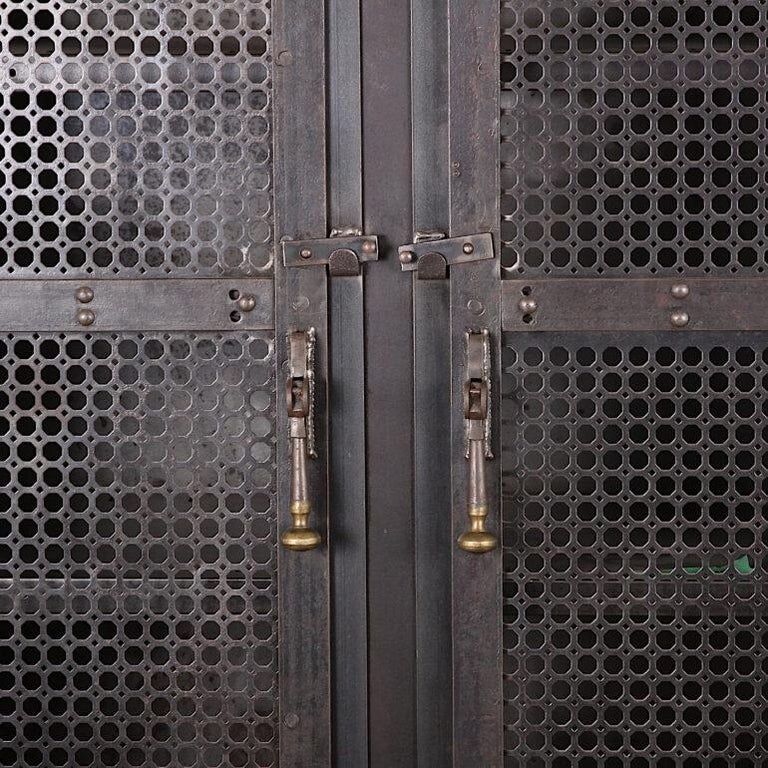 Industrial Heavy Gauge Steel Two Door Welded and Riveted Cabinet Armoire with Shelves For Sale