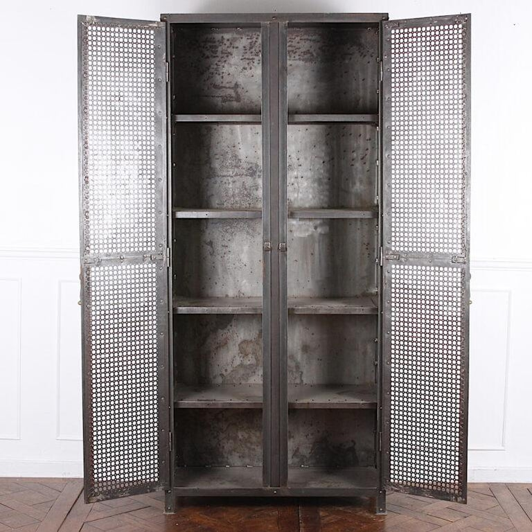 French Heavy Gauge Steel Two Door Welded and Riveted Cabinet Armoire with Shelves For Sale