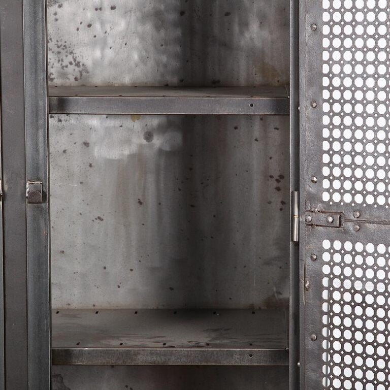 Heavy Gauge Steel Two Door Welded and Riveted Cabinet Armoire with Shelves In Good Condition For Sale In Vancouver, British Columbia