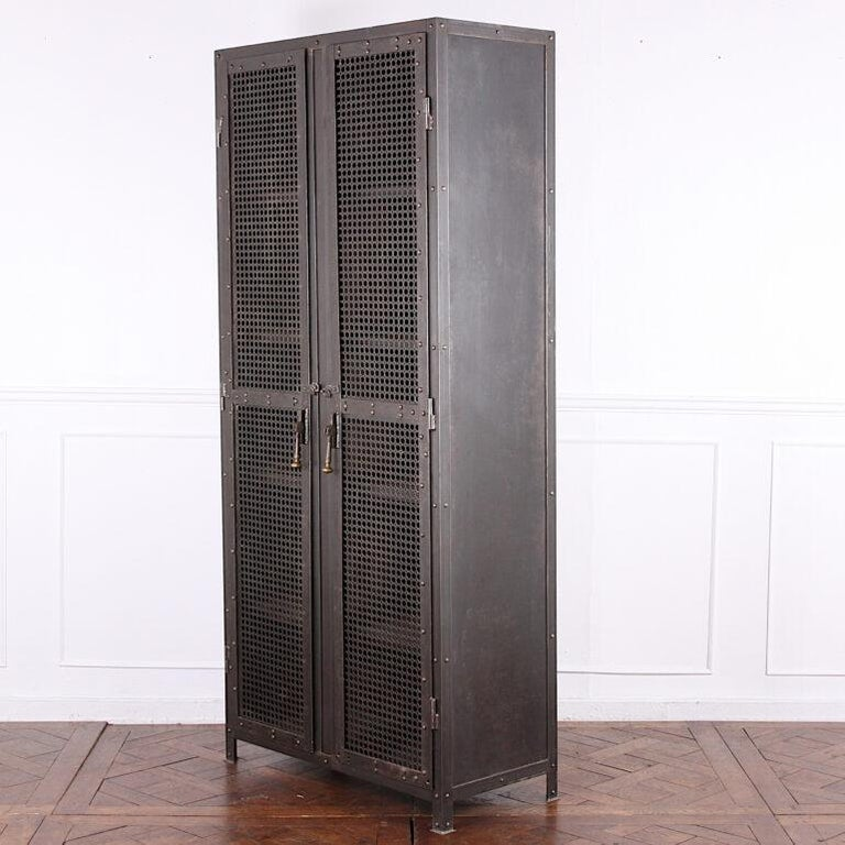Heavy Gauge Steel Two Door Welded and Riveted Cabinet Armoire with Shelves For Sale 1