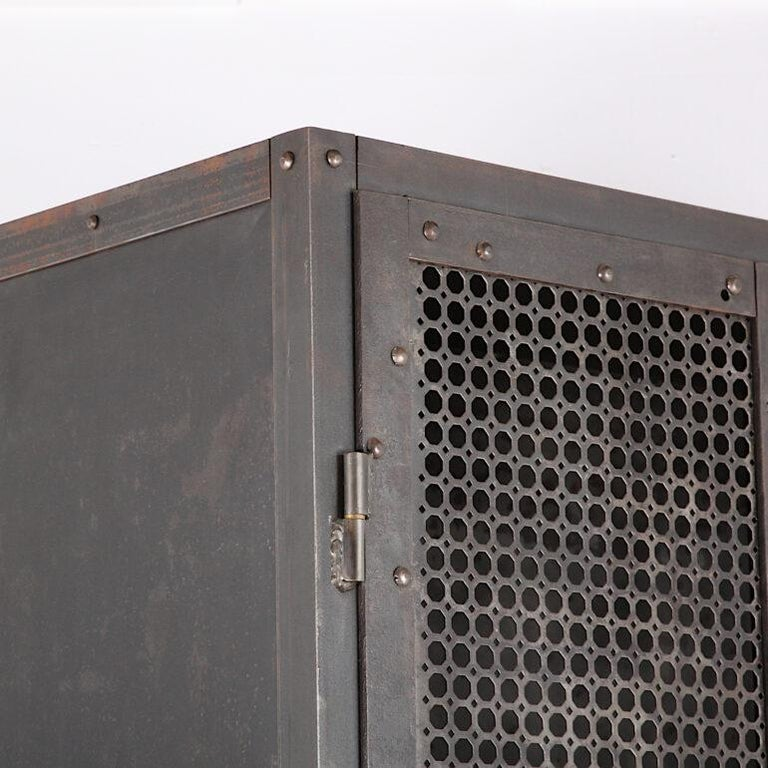 Heavy Gauge Steel Two Door Welded and Riveted Cabinet Armoire with Shelves For Sale 2