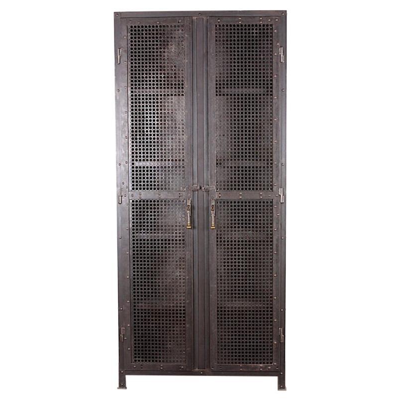 Industrial Heavy Gauge Steel Two Door Welded and Riveted Cabinet Armoire