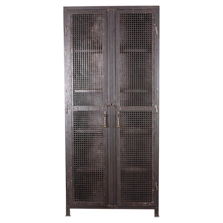 Heavy Gauge Steel Two Door Welded and Riveted Cabinet Armoire with Shelves For Sale