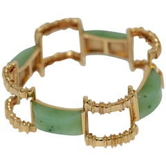 Heavy Gold Bracelet, Bangle, 18 Karat Set with Four Large Jade