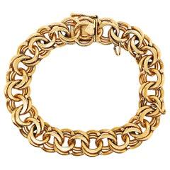 Heavy Gold Charm Bracelet, 14 Karat Large Gold Chain Bracelet