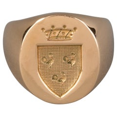 Heavy Gold Signet French Ring