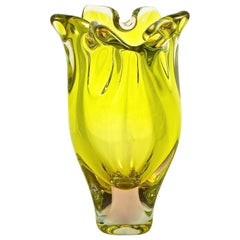 Heavy Hand Made Citrus Yellow, Shell Pink and Clear Art Glass Vase circa 1960s