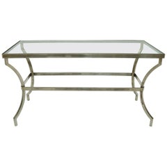 Heavy Iron Base Glass Top Console Table