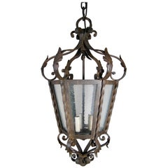 Heavy Italian Style Forged Iron Lantern
