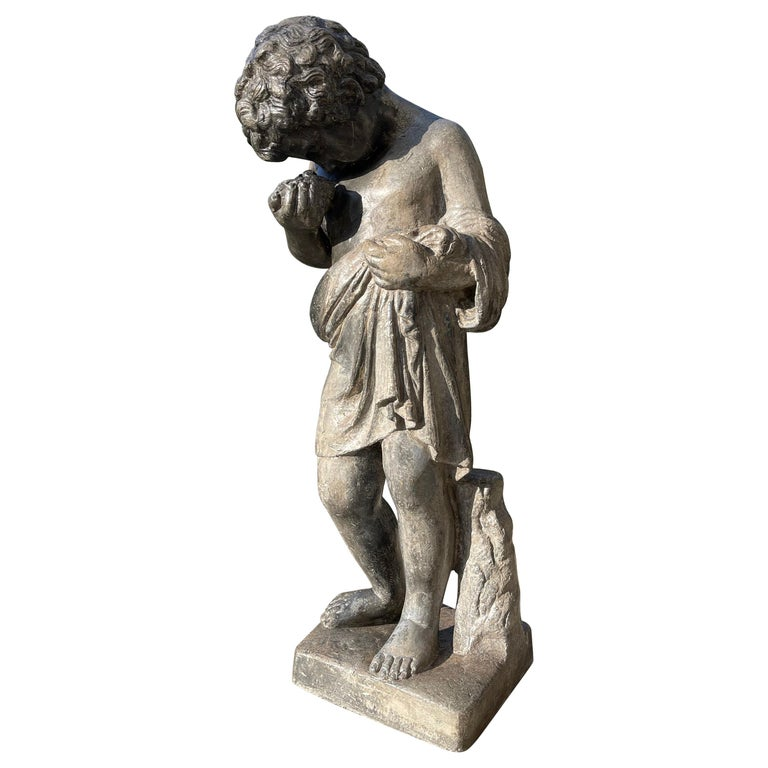 Heavy Lead Figural Statue Depicting a Putto with Bird's Nest, Italy, circa 1880 For Sale