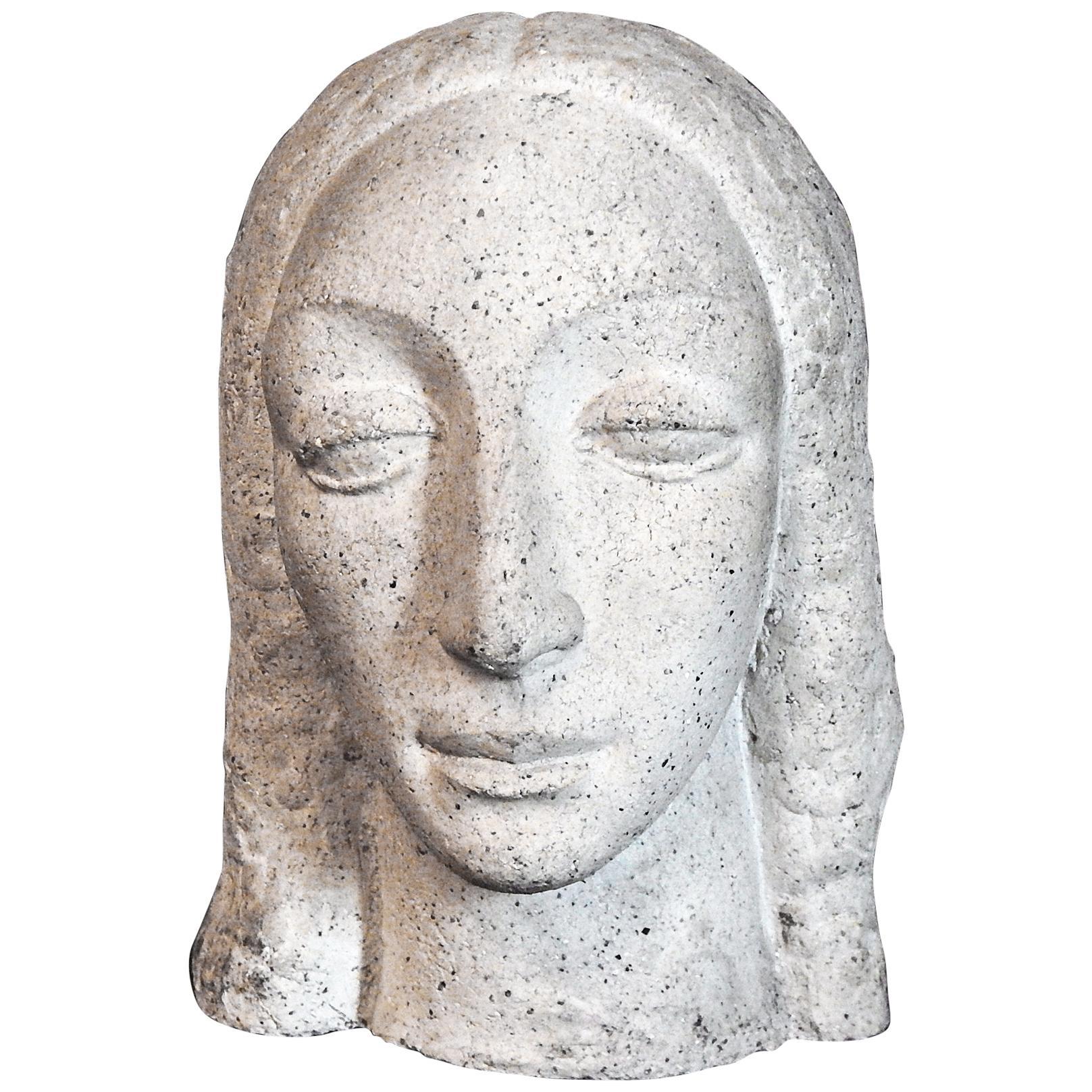 """""""Heavy-Lidded Female Head"""" Dignified Art Deco Sculpture by WPA Artist"""
