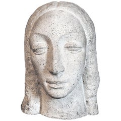 """Heavy-Lidded Female Head"" Dignified Art Deco Sculpture by WPA Artist"