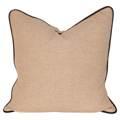Heavy Linen Pillow with Leather Welting