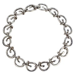 Heavy Link Vintage Mexican Sterling Silver Dog Collar Choker Necklace by Tane