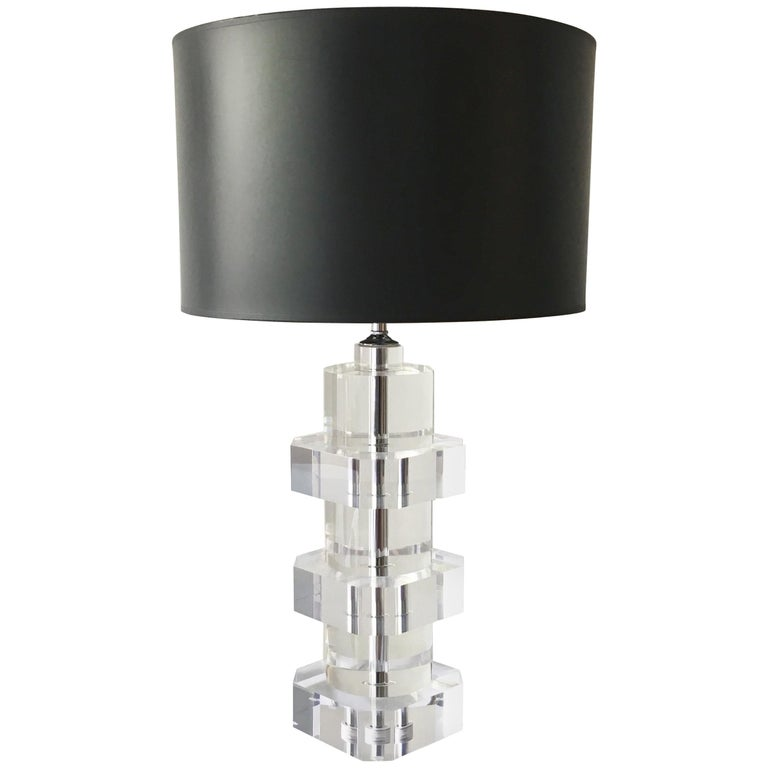 Heavy Lucite Table Lamp with Nickel Stem Detail, 1970s For Sale