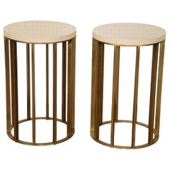Heavy Marble Top Modern Brass Round End Tables