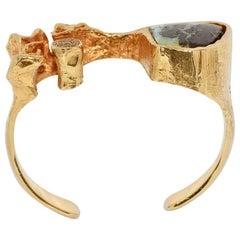 Heavy, Massive Bangle, Bracelet, 14 Karat Gold, with Natural Opal and Diamonds