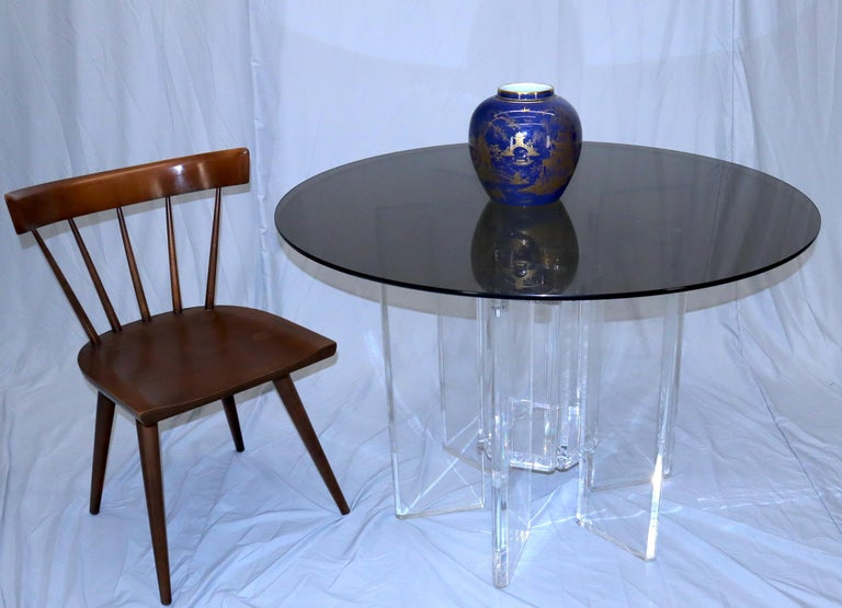 Mid-Century Modern Heavy Massive Lucite Base Round Bronze Smoked Glass Top Dining Conference Table For Sale