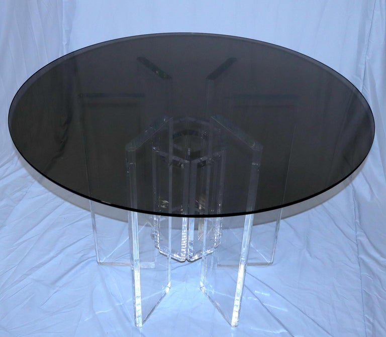 20th Century Heavy Massive Lucite Base Round Bronze Smoked Glass Top Dining Conference Table For Sale