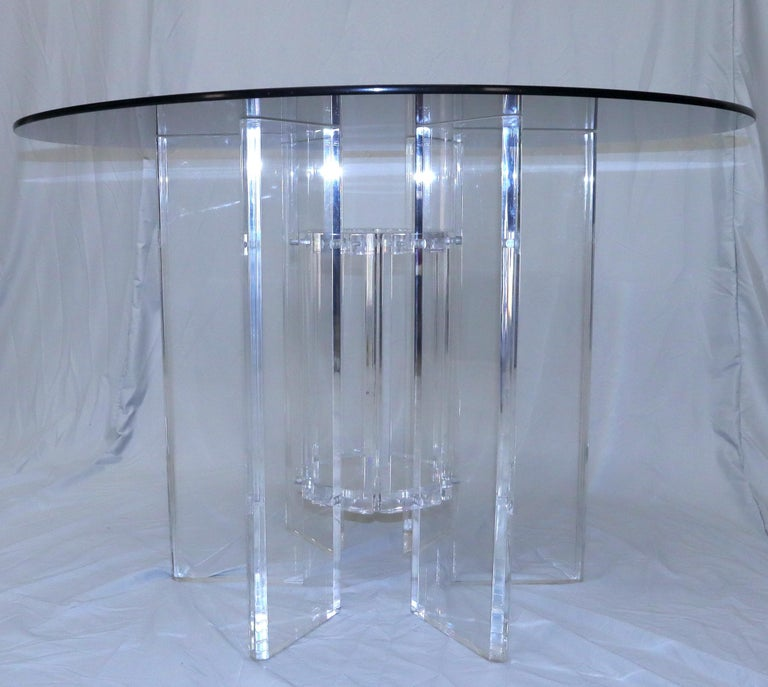 Heavy Massive Lucite Base Round Bronze Smoked Glass Top Dining Conference Table For Sale 2