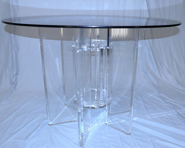 Heavy Massive Lucite Base Round Bronze Smoked Glass Top Dining Conference Table For Sale 3