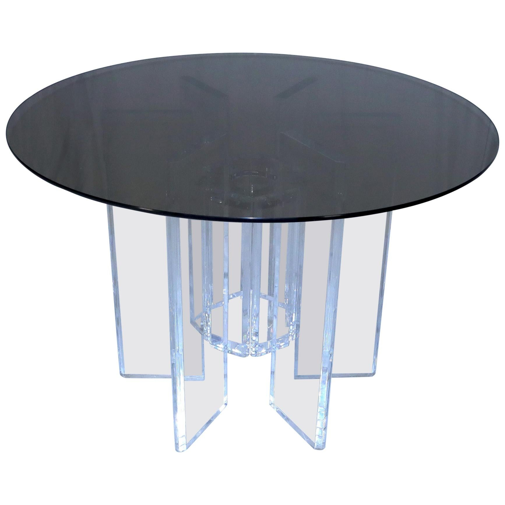 Heavy Massive Lucite Base Round Bronze Smoked Glass Top Dining Conference Table