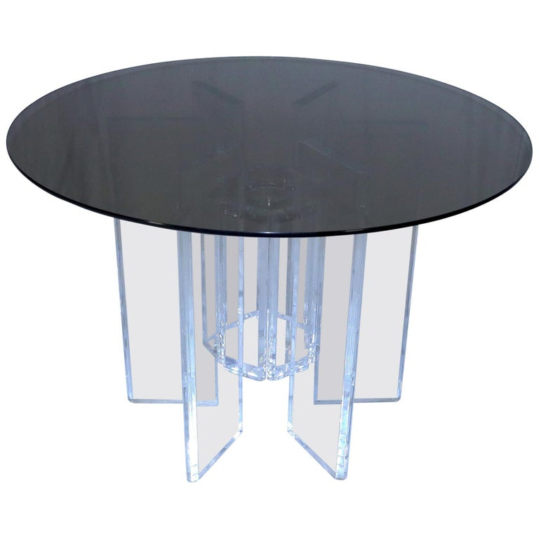 Heavy Massive Lucite Base Round Bronze Smoked Glass Top Dining Conference Table For Sale