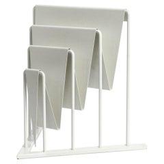 Heavy Metal Magazine Rack in White in Rare Postmodern Design