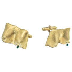 Heavy Metals NYC Tittily Winks Cufflinks in 18K Gold-Plated Brass