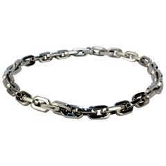 Heavy Mexican Sterling Silver Hexagonal Cable Dog Chain Link Choker Necklace