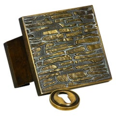 Heavy Mid-Century Modern Brutalist Design Brass Door Handle Witch Keyhole Cover