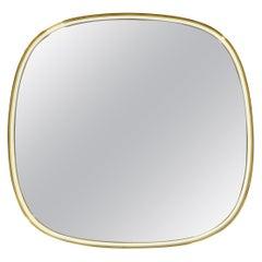 Heavy Midcentury XXL Brass Wall Mirror from Vereinigte Werkstätten