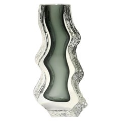 Heavy Murano Bicolor Glass Vase, Hand Made, 1970's
