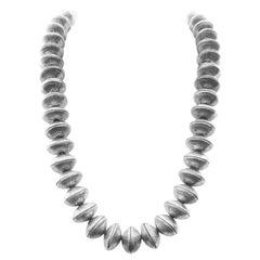 Heavy Navajo Bead Necklace, Coin Silver