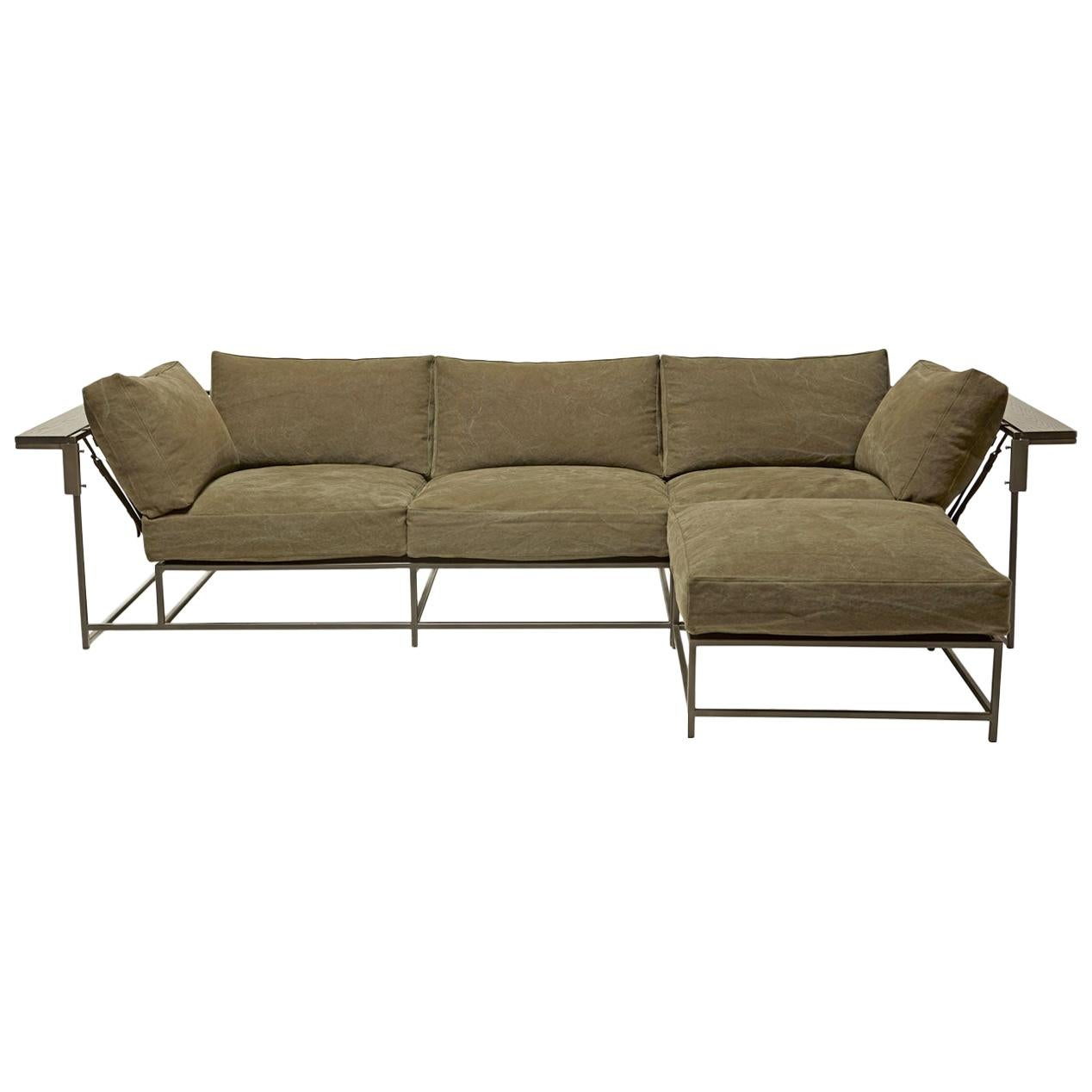 Heavy Olive Canvas Sofa and Ottoman Set