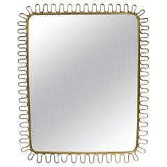 Heavy Original Midcentury Brass Wall Mirror in the Loop Design by Josef Frank