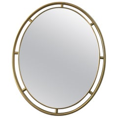 Heavy Oval Floating Brass Framed Mirror