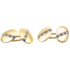 Heavy Pair of 18 Carat Gold, Sapphire and Diamond Cufflinks, English, circa 1890