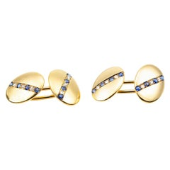 Cufflinks 18 Carat Gold with a line of Sapphires & Diamonds, English circa 1890