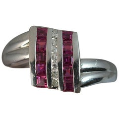 Heavy Platinum Diamond and Ruby Cluster Ring on Twist
