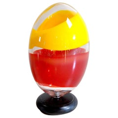 Heavy Polychrome Glass Egg Sculpture